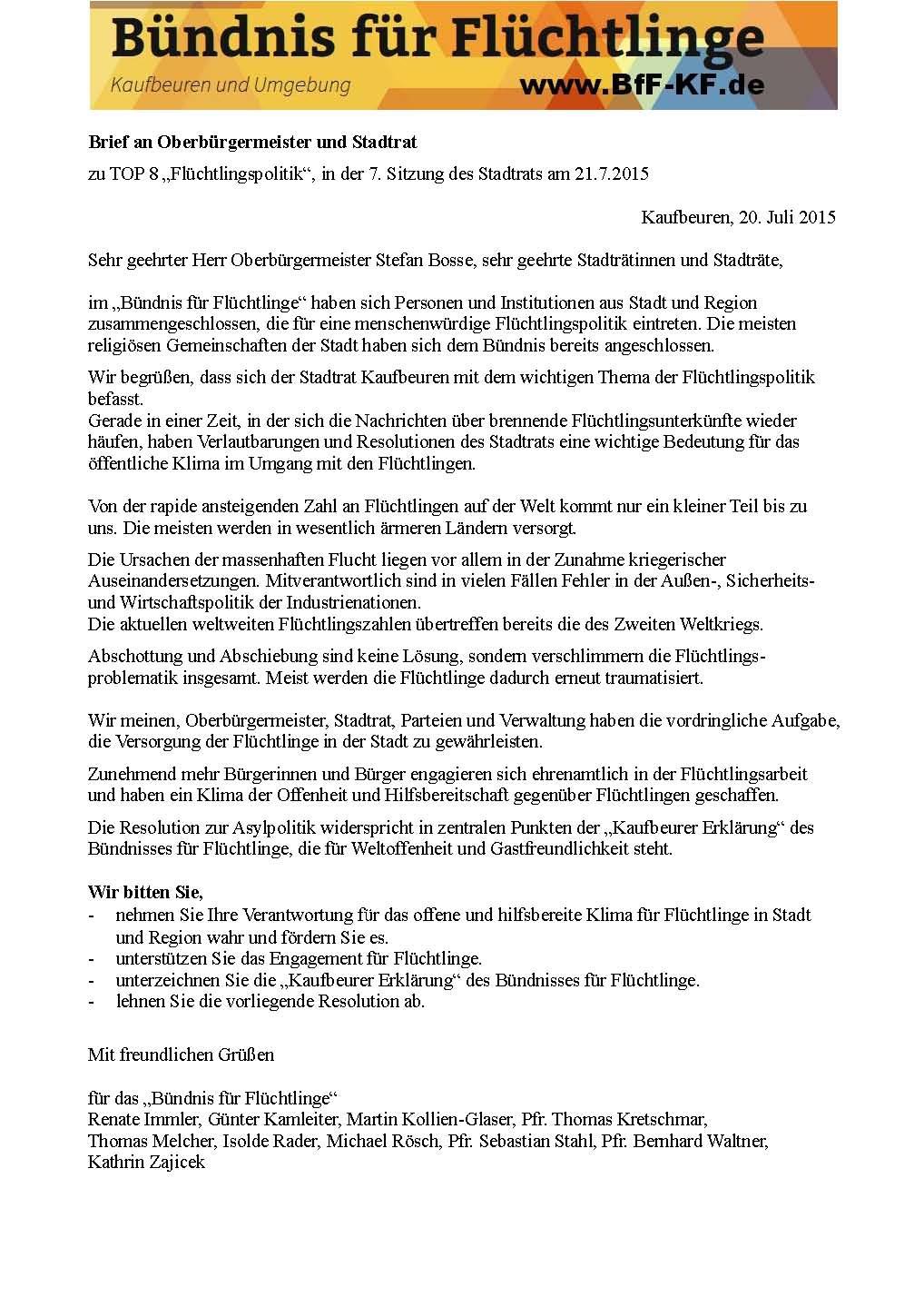 Brief Und Klingelanlagen : Stellungnahme zur entscheidung des stadtrats